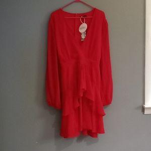 Boohoo red  midi dress, belt,built in slip